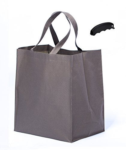 fleXi Bags Reusable Grocery Shopping Tote   Pack of 3 that Holds 120 Lbs Foldable and Self Standing   Silicone Handle included (Beige) -