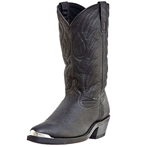 Laredo Mens Black Pigskin Leather East Bound 12in R Toe Cowboy Boots 11 D (Pig Leather Boot)