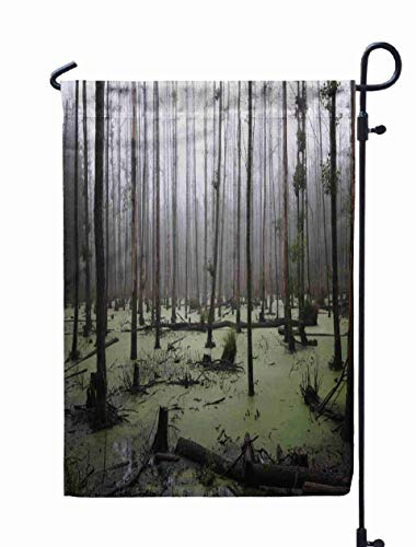 Shorping Welcome Garden Flag, 12x18Inch Panoramic View Misty Swamp in The Copy Space Forest for Holiday and Seasonal Double-Sided Printing Yards Flags]()