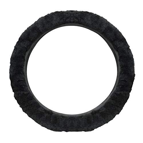 SANGAITIANFU Fashion Car Steering Wheel Cover Car Protective Grips Accessories Non-Adhesive Elastic Short Plush Telescopic Handle (Black)