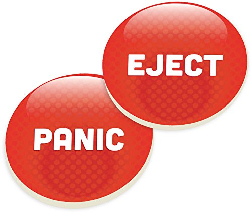 Panic Eject Button Red Ceramic Car Coaster Pack (Set of 2)