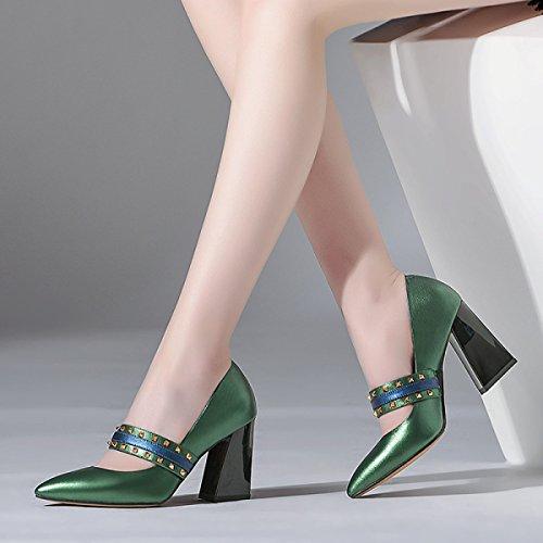 Cuir Chaussures Pointues Les Hauts Simples Rugueux Chaussures Europe en Travail Unis De Chaussures Rivets Femmes Green Et États Femmes Talons awqZ8PB