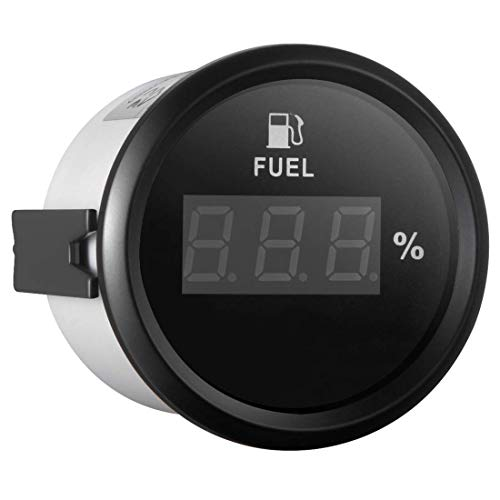 Samdo 52mm Digital Fuel Level Gauge Meter for Boat Car Motorcycle 0-190ohm Signal 12V/24V ()
