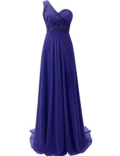 JAEDEN Mujer Un Hombro Vestido de Baile Largo Gasa Vestido de Noche Vestido de la Dama de Honor Azul Real