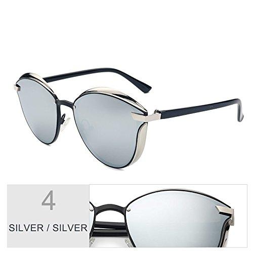 Uv400 Estilo Silver Gafas Piernas Gafas Las 3D Anti Oro Eye De Deslumbramiento Violeta Cat TIANLIANG04 Sol De De Mujeres Silver Polarizadas Escudo Tan gXxTcwB