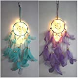 LED Light Up Dream Catcher Handmade Indian Feather Ornaments Wall Decoration for Bedroom Wall Decor Hanging Home Decor 22 inch (Pack of 2 (Blue+Purple))