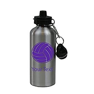 Personalized Custom Volleyball Aluminum Silver Finish 20 Ounce Water Bottle Customizable, Purple