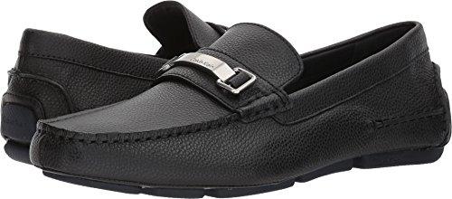 Calvin Klein Men's Mikos Tumbled Leather Loafer, Black, 11 Medium US by Calvin Klein