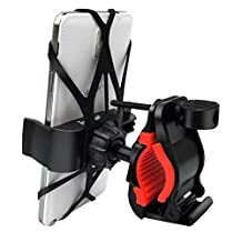 Bike MountHandlebar Secure Grip Universal One-touch Motorcycle Bicycle Holder Cradle Fitsany Smartphones Incl rubberized Clip and 2 x Silicone Belt in Black and Red