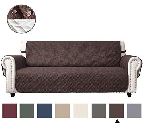 CHHKON DEARTOWN Sofa Cover with Anti-Skip Dog Paw Print 100% Waterproof Quilted Furniture Protector Sofa Slipcover for Children, Pets for Leather Couch (Chocolate, XL Sofa)