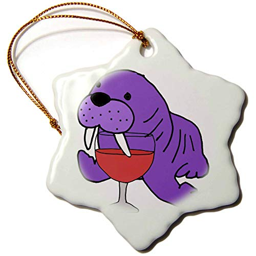 3dRose All Smiles Art Drinking - Cute Funny Purple Walrus Drinking Wine Cartoon - 3 inch Snowflake Porcelain Ornament (orn_288193_1)