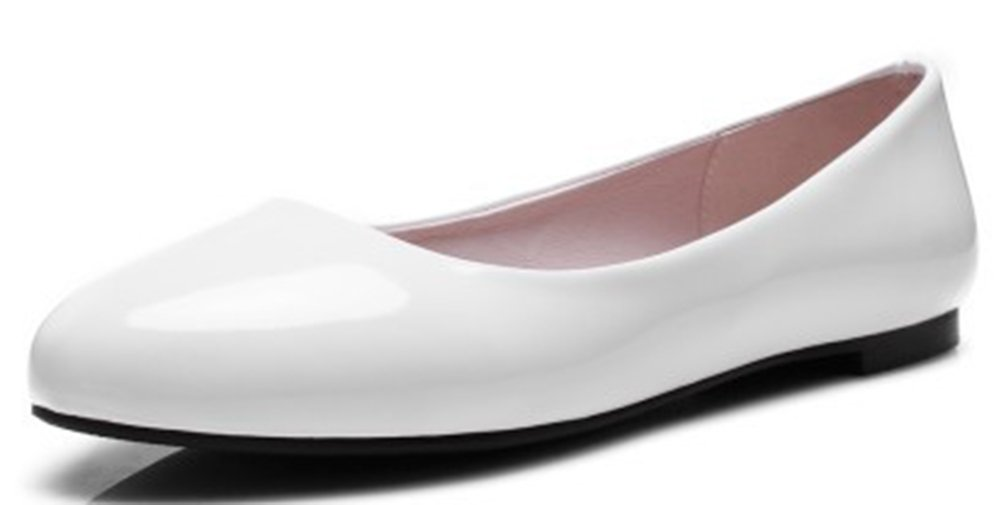 IDIFU Women's Casual Closed Round Toe Low Top Slip On Flats Shoes Wear to Work Loafers White 12 B(M) US