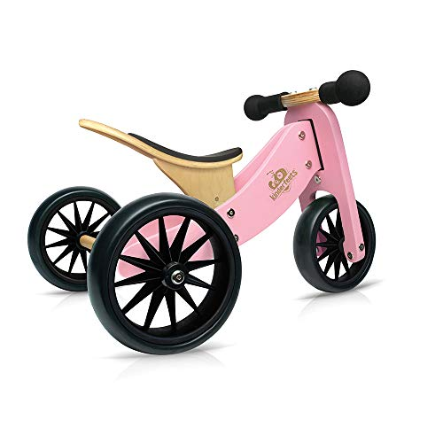 (Kinderfeets TinyTot Wooden Balance Bike and Tricycle in 1! ages 12-24 months. PINK)