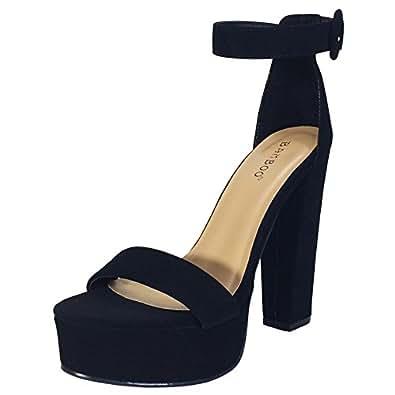 BAMBOO Women's Chunky Heel Platform Sandal With Ankle Strap, Black Nubuck PU, 5.5 B US