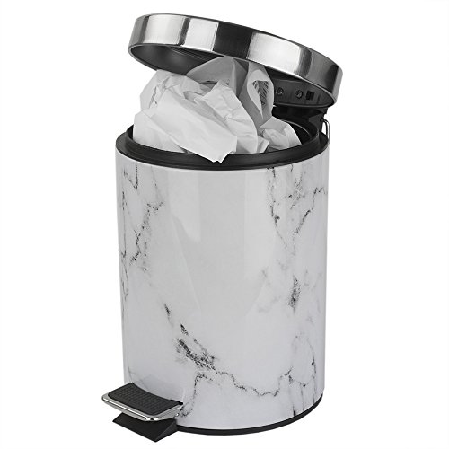 White Faux Trash Recycling Amp Compost Marble Bathroom