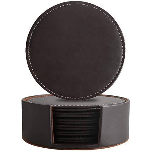 Leather Coasters for Drinks with Holder,Coffee Mats Protect Furniture from Hot or Cold Water Marks & Damage, PU Leather Drink Coasters Suitable for Kinds of Mugs and Cups, Set of - Drink Leather Coaster