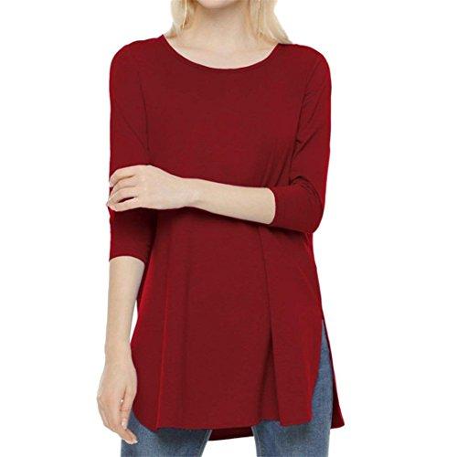 Donna Tops Casual Bluestercool Manica Tinta Rosso Unita Lunga Maglietta T Shirt Hq4WPgF1