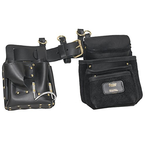 Drywaller's Complete Leather Adjustable Complete Tool Belt with Pouches and Suspender Loops by Perma-Pouch