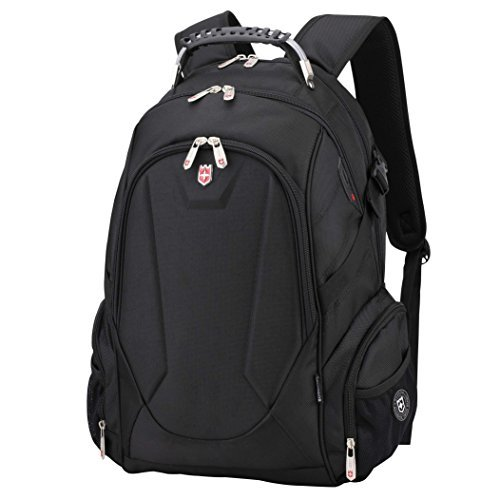 Swiss Ruigor 9508 Water Resistant Polyester Laptop Backpack With Side Pocket Fit For 15.6' Laptop And Notebook - Black