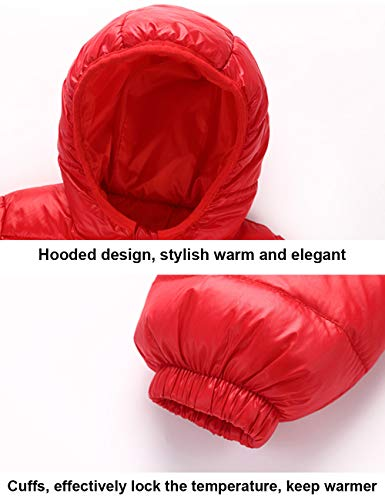 Hooded Thin Coats Unisex Outerwear Kids Zipper Down Jacket Warm Boys Red Jacket Lightweight Winter Windproof BESBOMIG Girls 5wcO1q017