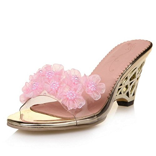 Blume Femmes Sandales Ete A Chaussures Compense Zanpa Rose Enfiler Beaded BqxZwF0