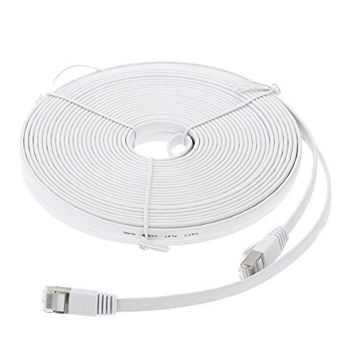 EpicDealz Premium Gigabit Ultra Flat CAT7 Ethernet Network Patch Cord Cable 10 Feet - White ()