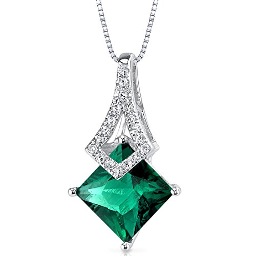 14 Karat White Gold Princess Cut 1.65 carats Created Emerald Diamond Pendant