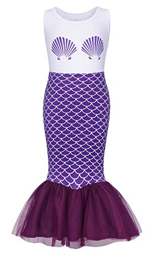 Cotrio Little Mermaid Sleeveless Dress Girls Ariel Princess Tutu Tails Skirt Toddler Casual Dresses 100% Cotton Clothes Halloween Outfit Size 6 (5-6Years, 120, Purple) -