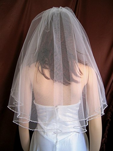 Bridal Wedding Veil Diamond (Off)White 2 Tiers Elbow Length Pearl Trim ()