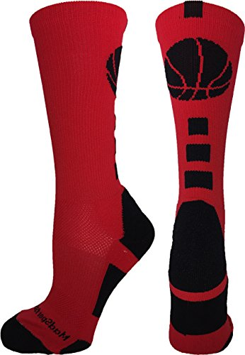 Red Kids Basketball (MadSportsStuff Basketball Logo Athletic Crew Socks, Small - Scarlet/Black)