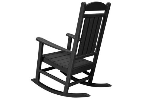 MD Group New Pineapple Cay Black Eco-friendly HDPE and Fully Recyclable All-Weather Porch Rocker Low-maintenance