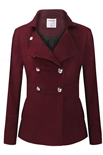 etuoji Womens Toggle Hooded Double Breasted Trench Coat Wine Red M