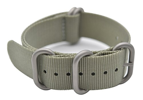 ArtStyle Watch Band with Colorful Nylon Material Strap and Heavy Duty Brushed Buckle (Grey, 22mm)