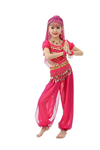 Feimei Girl's Exotic Jasmine Belly Dance Costume Set with Halter Top Harem Pants and Sequin Coins Designed for Performance Cosplay Carnival and Halloween Party (Rose-red, (Jasmine Halloween Costume Kids)