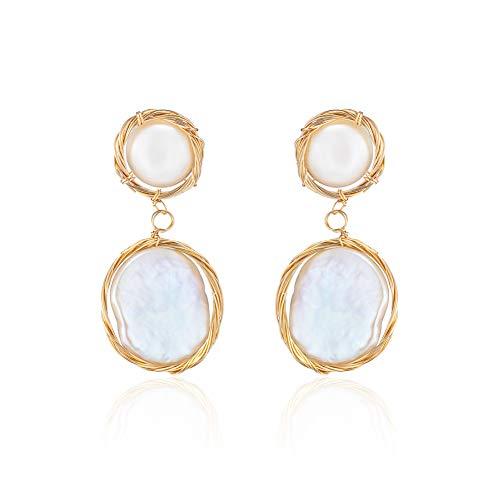 MIDE Gold Pearl Dangle Drop Earrings for Women, Sterling Silver Dangling Earring Bridesmaid Wedding Jewelry Real Cultured 14K