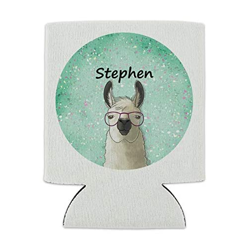 Personalized Custom Hip Llama with Glasses 1 Line Can Cooler - Drink Sleeve Hugger Collapsible Insulator - Beverage… |