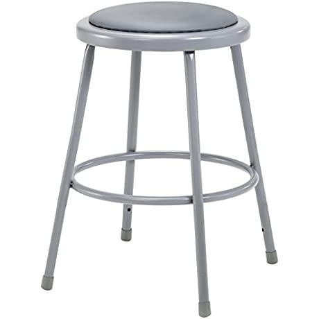 National Public Seating Grey Steel Stool With 24 Vinyl Upholstered Seat