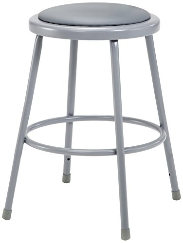 National Public Seating 6424  Grey Steel Stool with 24