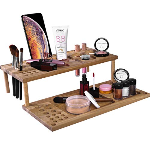 Makeup Cosmetic Perfume Organizer. Cell Phone Mirror Jewelry Necklace Holder Dock Wood Mobile Tablet Maquillaje Night Stand Women Girl Accessories Wooden Storage Caddy Case Happy Birthday Gift for Her -