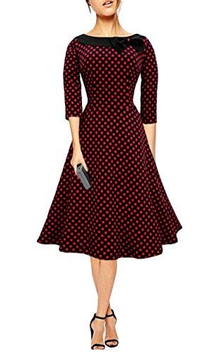 Ghope Damen Elegant Polka Dots Retro 50er Jahre Kleid Party ...