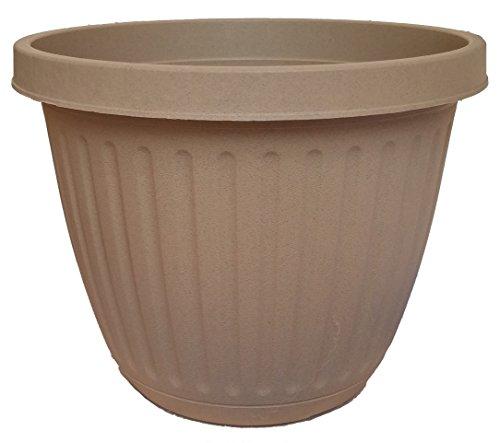 3 Decorative Fancy Plastic Planter 6.5 Inch Round Pot Great For Home Or Patio Garden Color Sandstone Decorative Plastic Planters