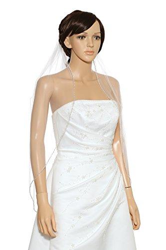 1T 1 Tier Pearls Bugle Beaded Wedding Veil V397 - Ivory Fingertip Length 36