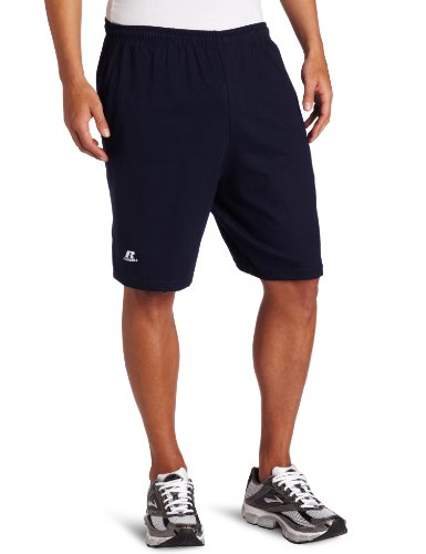 Russell Athletic Men's Cotton Baseline Short with Pockets, Navy, Small ()