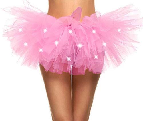 Adult's LED Light Up 5 Layered Tulle Tutu Mini Skirt, Light Pink