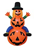 6 Foot Tall Happy Thanksgiving Inflatable Scarecrow on Pumpkins Perfect Thanksgiving Autumn LED Lights Outdoor Indoor Holiday Decorations Blow up Yard Giant Lawn Inflatables Home Family Outside Decor