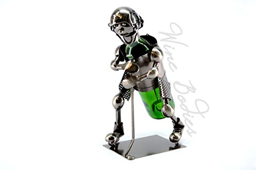 WINE BODIES ZB150 Hockey Player Metal Bottle Holder, Charcoal