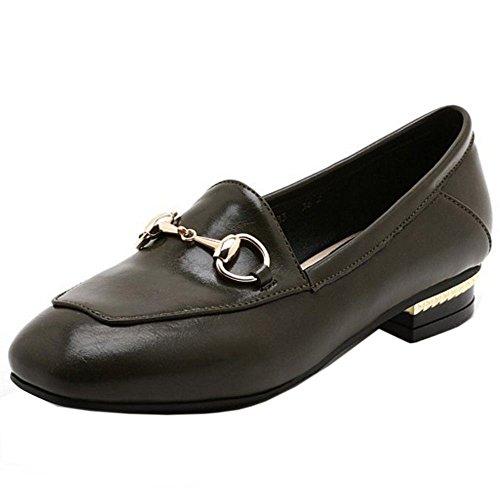 COOLCEPT Mujer Clasico Hebilla Acento Irlandes Zapatos Plano Formal Bombas Zapatos Extra Tamano Verde