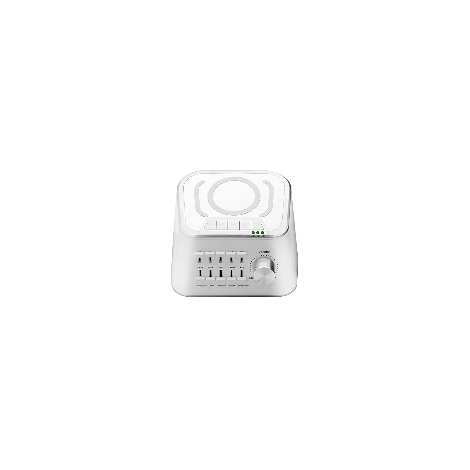 BACKTURE White Noise Sound Machine Sleep Therapy Machine with 10 Natural Sounds Mixing or Individually Played Includes Timer and USB Output Charger (White)