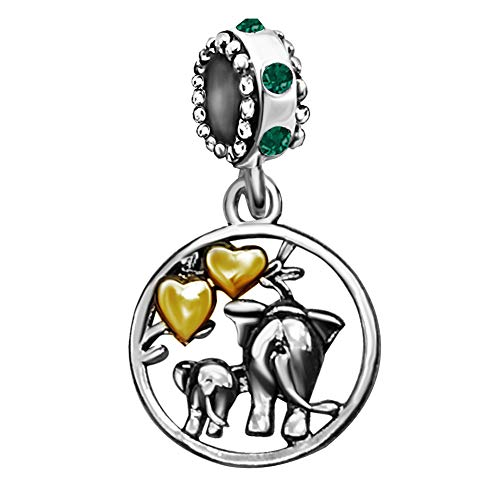 Green Elephant Charm - JMQJewelry Mother Elephant Love Heart Family Dangle Green Birthstone Charms Beads for Snake Chain Bracelets Mom Gifts
