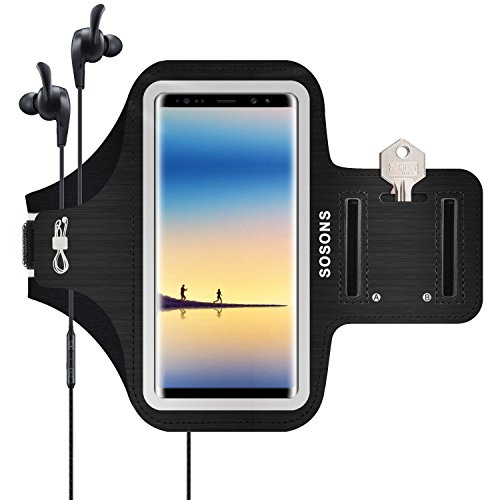Galaxy Note 8 Armband/S8 Plus Armband,SOSONS Water Resistant Sports Gym Armband Case for Samsung Galaxy Note 8/S8 Plus,with Card Pockets and Key Slot,Fits Smartphones with Slim Case-Black